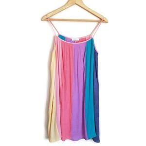 storia rainbow stripe mini dress size M